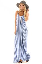 UK Summer Holiday Womens Strappy Striped Long Boho Dress Ladies Beach Maxi Dress