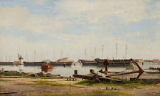 View of the wharf at Nyholm with the crane and warships are B a3 01174