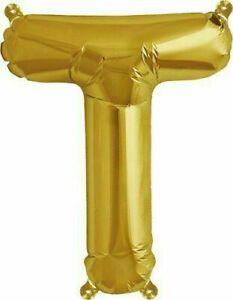"""16"""" Balloon """"T"""" Gold Easy Self Seal Refillable"""