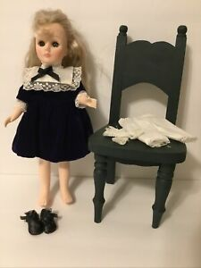 "Doll Black Velvet Dress-Lace Trim-Pantaloons Shoes 6 Pc 10""-12"" Doll (S23)"