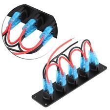 12-24V 5 Gang Round Rocker Toggle Switch Panel Blue LED for RV Boat Marine sud