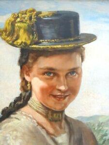 Gemälde Eugen Schoch 1884 - 1968 Mädchen aus dem Chiemgau
