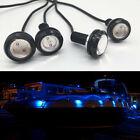 4x Blue Led Boat Light Silver Waterproof Transom Underwater Seadoo Jet Wave Run