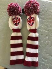 Two Golf Hybrid Wool Head Covers Union Jack British Flag Red & White