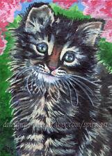 ACEO Original Art Animal Kitten Cat Cute Blossom Spring Oil Painting - SMcNeill
