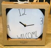 """New RAE DUNN Artisan Collection LL """"WELCOME"""" 9"""" Ceramic Wall Clock By Magenta"""