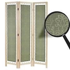 Paravent Samsun, Raumteiler Trennwand Sichtschutz Textil grün, Kiefer, 170x120cm