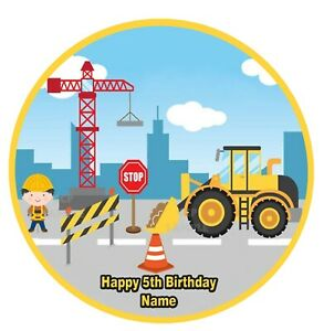 Construction Digger Crane Trucks Edible Image icing cake topper party decoration