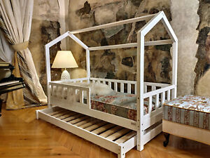 Bett mit Bettkasten, bettschublade, geländer, Hausbett, Holzbett, FARBE, 7 Tage