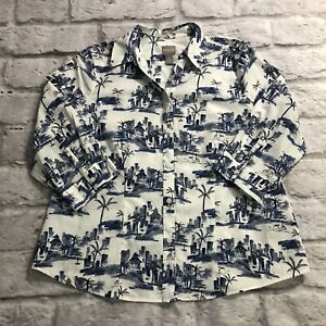 Chicos Size 2 Blouse Button Up Wrinkle Resistant White Blue Palm Trees Size L