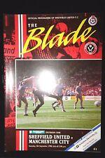 1990/91 Sheffield United V Manchester City Divisione 1 MATCH PROGRAMME 8.9.1990