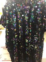 """Fantastic Hologram big dot sequin mesh fabric 54"""" Black pearl. Sold by the yard."""