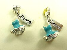 BLUE Silver 3D BALLET Tutu w/ DANCE Tag fits Clip ON Charm or European Bracelet