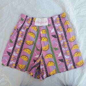 80s 90s Vintage C'est Joli Elastic Waist High wide leg Novelty Mom Shorts 29