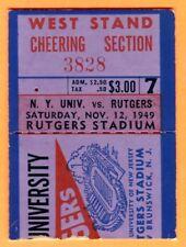 VINTAGE 1949 NYU/RUTGERS FOOTBALL TICKET STUB-11/12/49