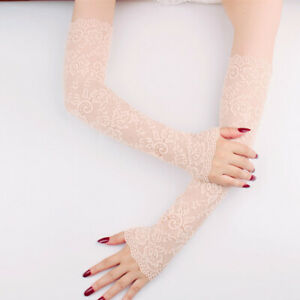 Summer Sun Protection Arm Sleeves Stretchy Long Lace Sleeve Fingerless Gloves