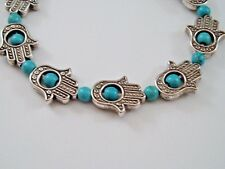 STRETCH BRACELET SILVER HAMSA CHARMS HAND OF FATIMA FAUX TURQUOISE BLUE BEADS