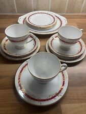 Vintage 12 Pieces Princess Queen Anne China Trio Cups Saucers Plate