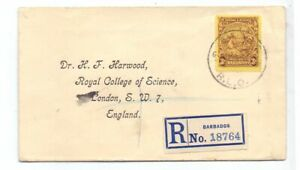 BARBADOS 1925 REG. COVER TO UK 3d