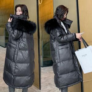 Women Glossy coat Down cotton jacket Ladies fur hooded Long puffer Outwear