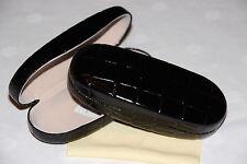 Schönes Brillenetui ,metall, Kunstlederoptik schwarz  mit Brillenputztuch (7454)