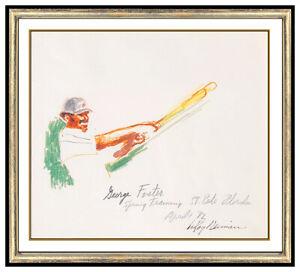 LeRoy Neiman Original Color Ink Drawing New York Mets Baseball Signed Sports Art