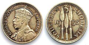 Rodesia del Sur-Jorge V. 3 peniques. 1935. SC/UNC. Plata 1,4 g. Brillo original