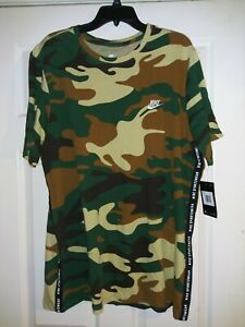 Nike Sportswear Green Brown Camo Embroidered T-Shirt AR4036 341 Mens XXL or Med