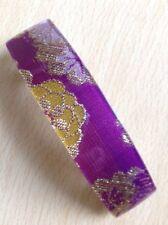 A Violet Et Doré Fil Tissu Imprimé Barrette à cheveux