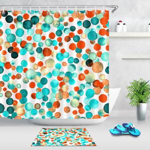 Shower Curtain Set Waterproof Fabric & Hooks Watercolor Confetti Orange Circles