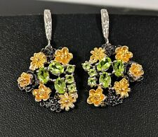 Sterling Silver 925, Gold/And Black Rhodium Coating Peridot Jewellery Earrings