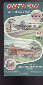Ontario Canada Official Road Map 1958 Department of Highways