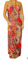 New Red Multi-color Long MAXI Sun DRESS Halter Beach Casual Summer S M L XL