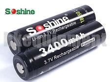 Soshine 18650 3400 mAh Rechargeable Li-ion 3.7v Battery x2