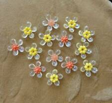 40 sets Lucite/plastic flower beads,yellow,clear
