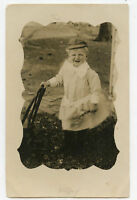 Real Photo Postcard-RPPC-Cute Child W/Hat Holding Flowers-Big Smile