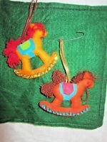 Vintage Christmas Felt Sequins Holiday Ornaments  Handmade 2 Rocking Horses