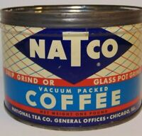 Vintage 1950s NATCO COFFEE GRAPHIC KEYWIND COFFEE TIN 1 POUND CHICAGO ILLINOIS