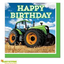 TOVAGLIOLI PARTY TRATTORE HAPPY BIRTHDAY 16PZ 33X33  CONTADINO AGRICOLTORE