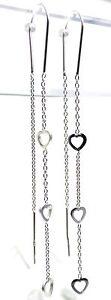 "3.03"" Solid 925 Sterling Silver Triple Heart Threader 4mm Trio Hearts Earrings"