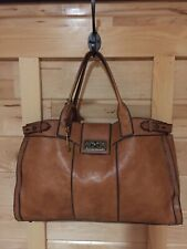 FOSSIL Vintage Reissue Weekender Pecan Brown Leather Satchel Overnight Bag XL