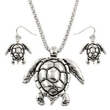 Turtle Necklace Textured Chunky Pendant Set Mesh Chain SILVER Surfer Jewelry