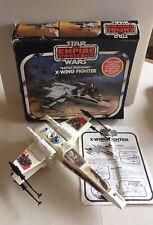 Vtg Star Wars ROTJ Battle Damaged X Wing Fighter w/Luke Fig & Box Lights Work