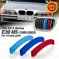 Für BMW 5er E39 M5 1995-03 KÜHLERGRILL GRILL ABDECKUNG M Tech 3 FARBEN STREIFEN