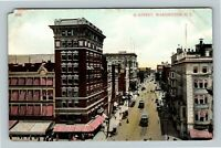 Bird's Eye View G Street Trolleys Horse Carriage Vintage Washington DC Postcard