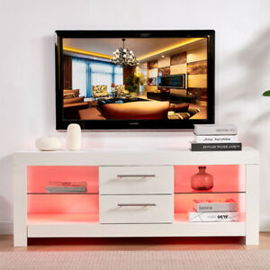 16 Color LED TV Unit Cabinet Stand Sideboard Matt Body & High Gloss 130cm White