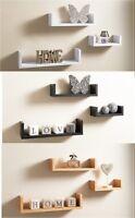 Set of 3 U Shape Floating Wall Shelves Storage Display Shelf White Black Oak