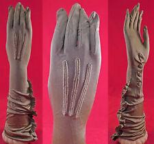 Vintage The Kayser Edwardian Taupe Silk Knit Ruffled Elbow Length Long Gloves