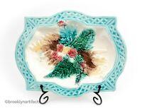 Antique 1800s Green Floral Fern Majolica Art Pottery Serving Platter / Plate