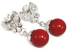 Red Coral Color Shell Pearl White Gold Plated Crystal Butterfly Stud Earrings
